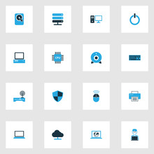 Computer Colorful Icons Set. Collection Of Power, Connection, Camera And Other Elements. Also Includes Symbols Such As Computer, Security, Modem.