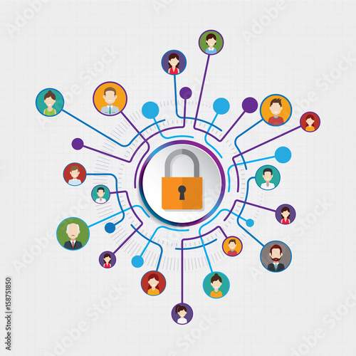 Stampa su Tela  Circle Connection Security