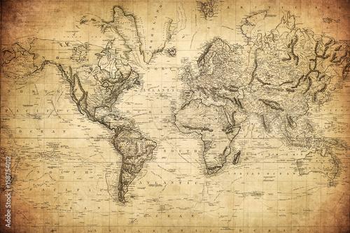 archiwalna mapa świata 1814 ..