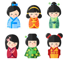 Japanese Kokeshi Dolls, Vector Icons