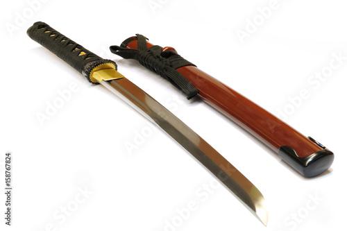 Fotomural Japanese sword katana on white background