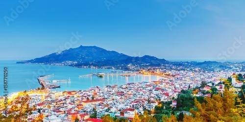 фотография Zante - Zakinthos islnad, capital city, view from above, twilight scenery, panoramic aspect ratio photography