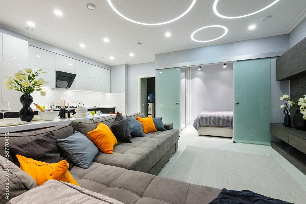 Fototapety, obrazy: Modern white living studio with bedroom doors open