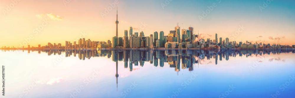 Fotografie, Obraz Toronto Skyline Mirror Panorama