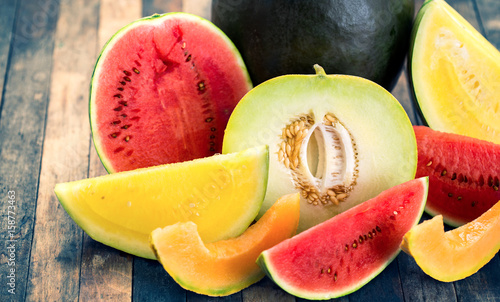 Fresh watermelons and melons