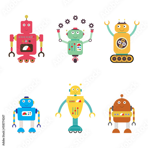 Deurstickers Robots Robots collection. android isolated on white background