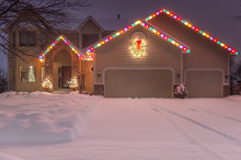 Winter Home With Holiday Light...