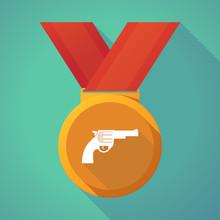 Long Shadow Medal With A Gun
