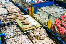 Various Mollusks In Fish Marke...