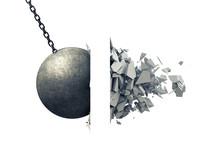 Metallic Wrecking Ball Shattering Wall