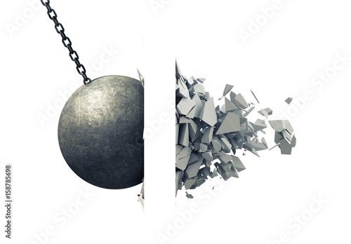 Metallic Wrecking Ball Shattering Wall Wallpaper Mural