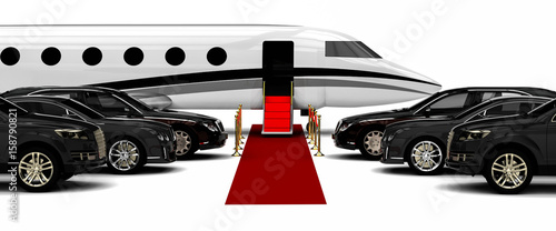 High class red carpet travel fleet  / 3D render image representing a high class Poster Mural XXL