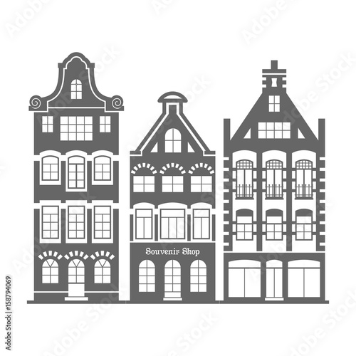 Set of 3 shape Amsterdam, Holland old houses facades Canvas Print