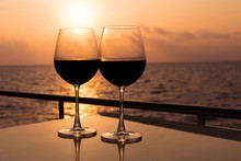 Glasses, Red Wine And Tropical...