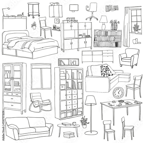 Vector Set Of Modern Furniture Objects Drawn With Black Pen Table Bookshelf
