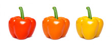 Set Of Sliced Paprika Isolated. Red, Yellow And Orange Capsicum