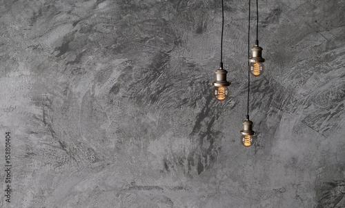 Tapety Loftowe  przemyslowe-lampy-wiszace-na-szorstkiej-betonowej-scianie-wnetrze-w-stylu-loftowym-zarowki-edisona