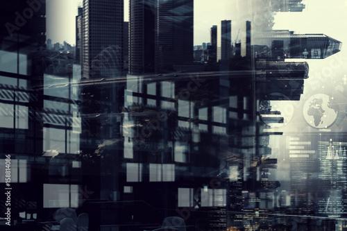 Fototapeta Business city background obraz na płótnie