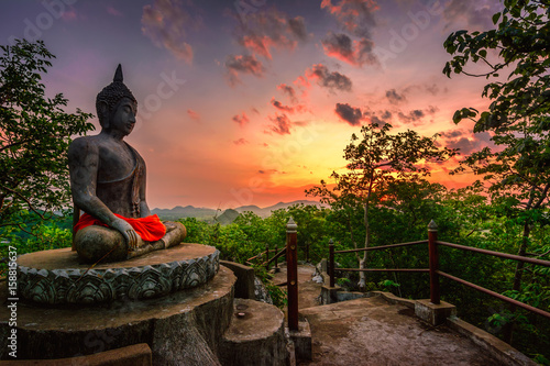 The beauty of Asian culture. Mountaintop Buddha statues.