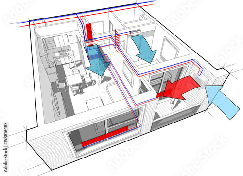 Perspective cutaway diagram of apartment with hot water radiator perspective cutaway diagram of apartment with hot water radiator heating and central heating pipes as source ccuart Images