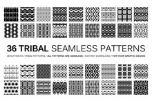 Set Of 36 Tribal Seamless Patt...