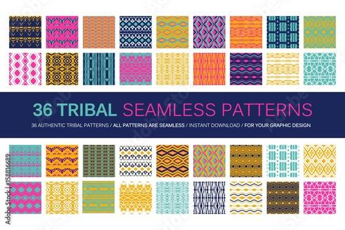 Fotografia Set of 36 tribal seamless patterns.