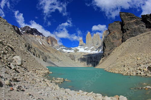 Fotografie, Obraz  The three towers at Torres del Paine National Park, Patagonia, Chile, view from