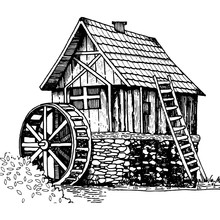 Old Water Mill Engraving Style...