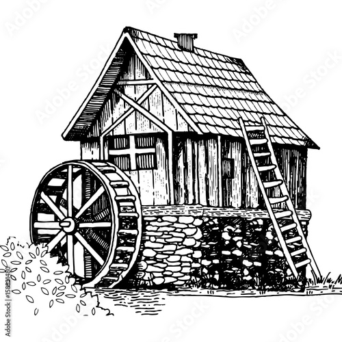 Old water mill engraving style vector illustration Wallpaper Mural