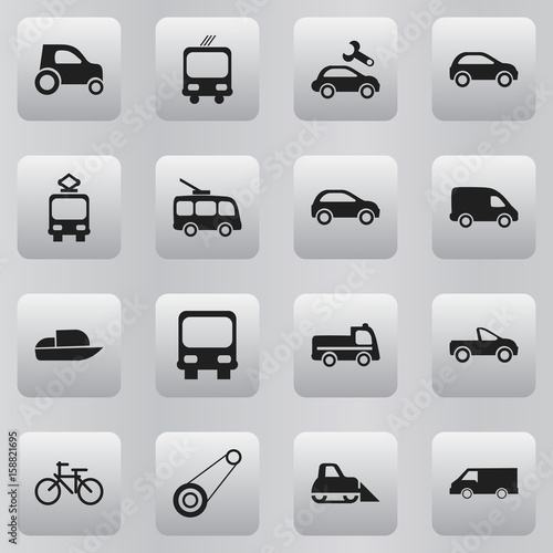 Photo  Set Of 16 Editable Transportation Icons