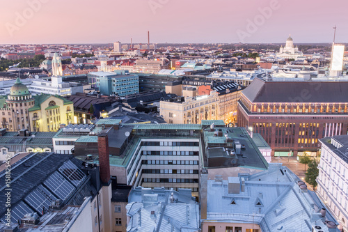 Canvas Print Dusk Over Helsinki Rooftops