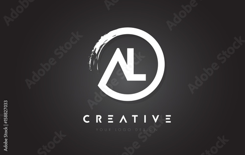 Photo AL Circular Letter Logo with Circle Brush Design and Black Background