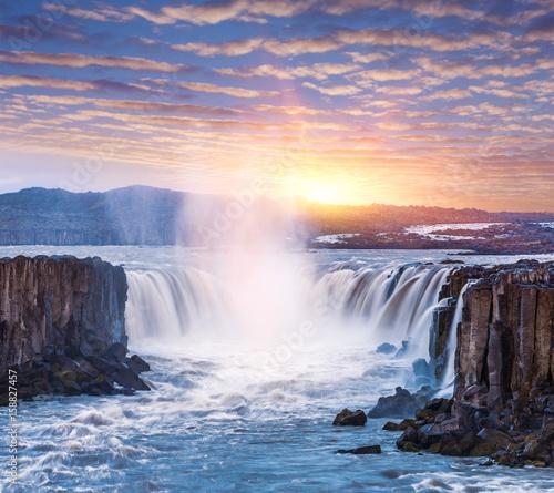 Poster Cascade Cascade of Selfoss waterfall in Iceland