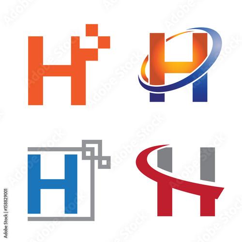 h letter technology internet symbol logo template