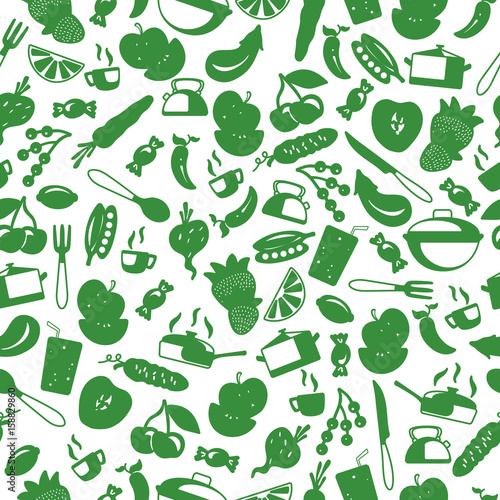 seamless-pattern-with-simple-icons-on-a-theme-kitchen-accessories-and-food-green-silhouettes-of-icons-on-a-light-background
