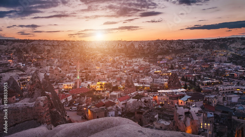 Poster Las Vegas Turkish caves village Goreme at sunset