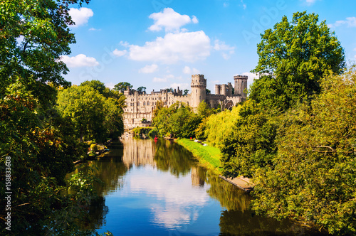 Chateau Warwick, UK. Castle of Warwick with river