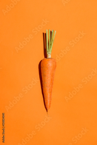 Billede på lærred Top view of an carrot on orange background.