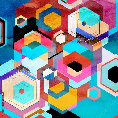 Fototapeta streszczenie tło geometryczne akwarela