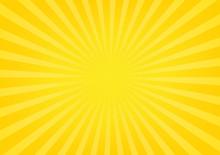 Sun Rays, Sunburst On Yellow A...