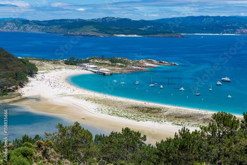 Spain, Galicia, Cies Islands. Views over the Rodas Beach