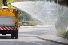 Watering Truck Pouring Water T...