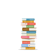 Stack Of Books On A White Background. Pile Of Books Vector Illustration. Icon Stack Of Books In Flat Style