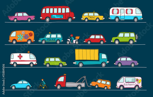 Spoed Foto op Canvas Cartoon cars Hand drawn doodle cartoon collection of colorful cars and transportation