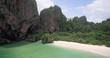 Rainforest and Limestone Caves at Phra Nang Beach, Railay, Krabi, Thailand, Aerial Approach Shot
