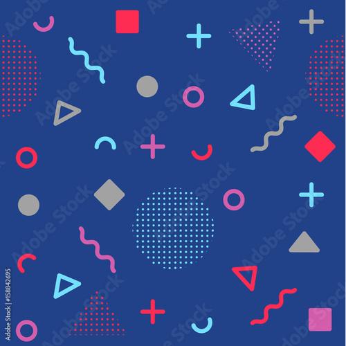 Bright blue avant-garde geometric seamless pattern Fototapet