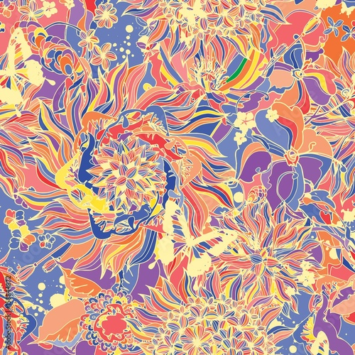 Abstract background consisting of flowers and butterflies