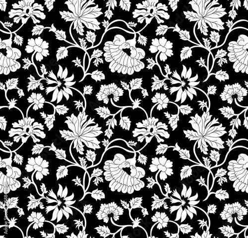 bezszwowe-czarny-i-bialy-kwiatowy-wzor