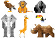Modular animal figurines savannas of triangular elements. Giraffe, elephant, gorilla, lion, toucan, rhino, eagle. Isolated objects