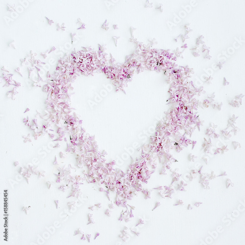 Composition Of Flowers Heart Symbol Of Purple Lilac Flowers Top